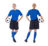 Vrouwelijke die voetballer op wit wordt geïsoleerd royalty-vrije stock fotografie