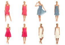 Vrouwelijke die wijze in kledingscollage over wit wordt geïsoleerd royalty-vrije stock foto