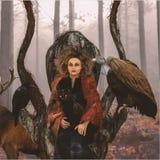 Vrouwelijke Druïde in a-troon met Dieren, Medicijnman In The Forest royalty-vrije illustratie