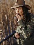 Vrouwelijke eendjager Stock Foto's