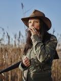 Vrouwelijke eendjager Royalty-vrije Stock Foto