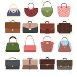 Vrouwelijke en mannelijke handtassen De beurs en de zak geïsoleerde toebehoren vectorinzameling van de manierdame stock illustratie