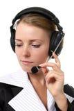 Vrouwelijke exploitant in hoofdtelefoon royalty-vrije stock foto