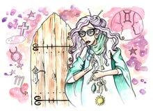 Vrouwelijke Fortuneteller met magische rond symbolen allen stock illustratie