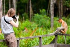 Vrouwelijke fotograaf en zuigorganenaap royalty-vrije stock foto