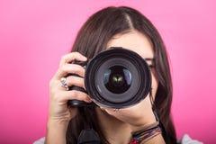 Vrouwelijke Fotograaf Portrait royalty-vrije stock afbeeldingen