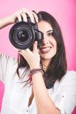 Vrouwelijke Fotograaf Portrait royalty-vrije stock foto's