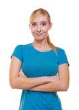 Vrouwelijke geïsoleerde student van het portret de toevallige blonde glimlachende meisje. Onderwijsuniversiteit. Stock Foto's