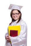 Vrouwelijke geïsoleerdee student Stock Foto