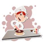 Vrouwelijke gebakjechef-kok Stock Foto's