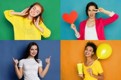 Vrouwelijke gelukkige geplaatste emoties Stock Fotografie