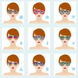Vrouwelijke geplaatste gezichtsvormen Negen pictogrammen Meisjes met blauwe ogen, rode lippen en bruine haren Royalty-vrije Stock Afbeelding