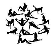 Vrouwelijke Geschiktheid en Gymnastiekactiviteitensilhouetten, kunst vectorontwerp Royalty-vrije Stock Foto's