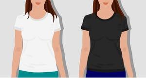 Vrouwelijke geschilderde t-shirts, realistisch Stock Afbeeldingen