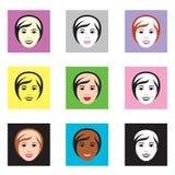 Vrouwelijke gezichten Stock Afbeelding