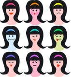 Vrouwelijke gezichten/emoties/eps Stock Foto