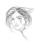 Vrouwelijke gezichtsschets Stock Afbeeldingen