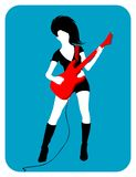 Vrouwelijke gitarist Royalty-vrije Stock Foto's