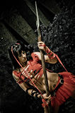Vrouwelijke Gladiator met Spear Royalty-vrije Stock Foto's