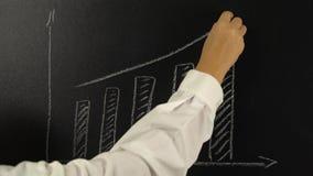 Vrouwelijke hand die een grafiek trekken op een bord stock footage