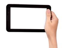 Vrouwelijke hand die een tabletaanraking houden Stock Afbeeldingen