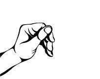 Vrouwelijke hand die een vinger houden onzichtbaar iets Lege ruimte royalty-vrije illustratie