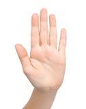 Vrouwelijke hand die einde toont Royalty-vrije Stock Foto