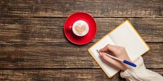 Vrouwelijke hand die iets schrijven royalty-vrije stock afbeelding