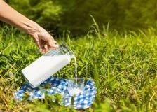 Vrouwelijke hand gietende melk van kruik in glas in gras Stock Afbeeldingen
