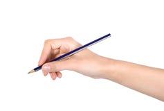 Vrouwelijke hand met een potlood Stock Fotografie