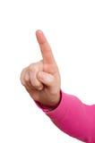 Vrouwelijke hand met wijsvinger Royalty-vrije Stock Foto's