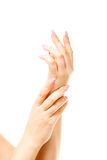 Vrouwelijke hand op de geïsoleerde achtergrond Stock Foto
