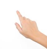 Vrouwelijke hand op geïsoleerdt stock afbeeldingen
