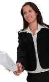 Vrouwelijke handdruk Stock Foto's