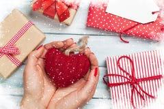 Vrouwelijke handen die het hart van de Valentijnskaartendag houden Royalty-vrije Stock Foto's