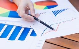 Vrouwelijke handen die met pen op bedrijfs grafisch financieel verslag richten Stock Afbeelding