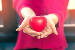 Vrouwelijke handen die rode plastic harten standhouden Stock Fotografie