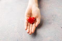 Vrouwelijke handen die rood hart geven Royalty-vrije Stock Fotografie