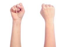 Vrouwelijke handen die - vuist tellen stock afbeelding