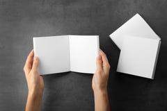 Vrouwelijke handen en lege brochures Stock Fotografie
