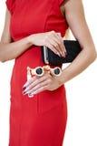 Vrouwelijke handen met aardige kunstmanicure stock afbeelding