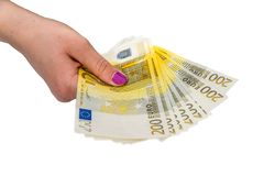 Vrouwelijke handgreep 200 euro bankbiljetten isolat Stock Fotografie