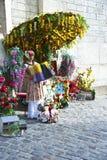Vrouwelijke harmonikaspeler Montmarte Stock Foto
