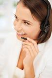 Vrouwelijke helpline exploitant met hoofdtelefoons Royalty-vrije Stock Fotografie