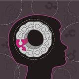 Vrouwelijke hersenenillustratie Stock Foto's