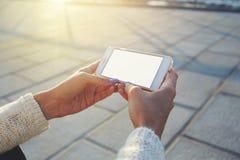 vrouwelijke het letten op video op slimme telefoon terwijl het ontspannen in de verse lucht Royalty-vrije Stock Foto