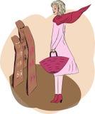 Vrouwelijke het winkelen kranten en tijdschriften Royalty-vrije Illustratie