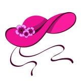 Vrouwelijke hoed met bloemen Stock Fotografie