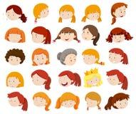 Vrouwelijke hoofden met gelukkig gezicht Royalty-vrije Stock Foto