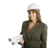 Vrouwelijke Ingenieur met Blauwdrukken Stock Fotografie